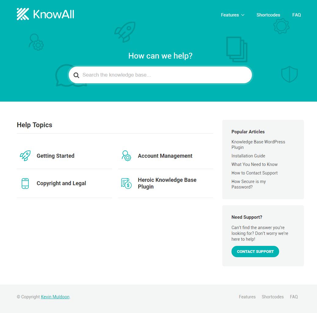 KnowAll Sample Layout