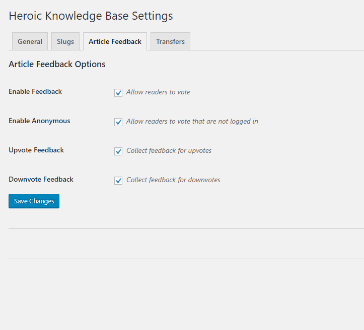 Heroic Knowledge Base Article Feedback Settings