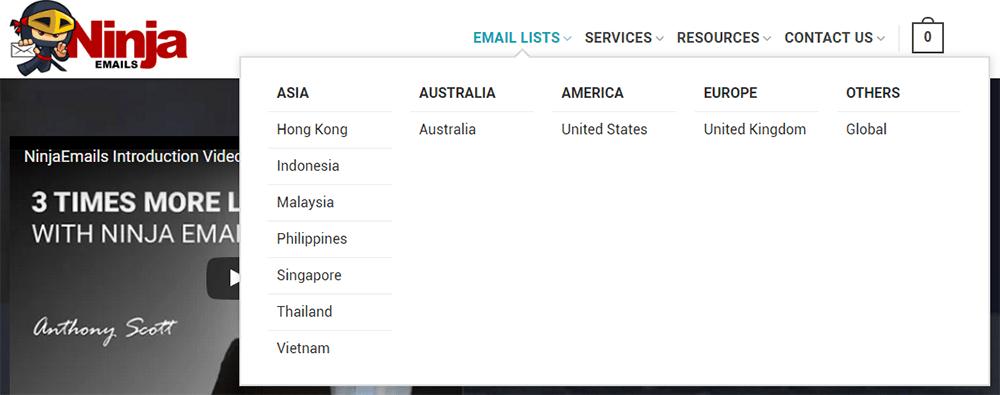 Ninja Emails Regions