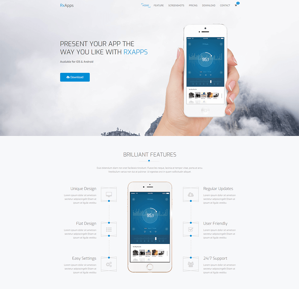 RxApps WordPress App Landing Page Theme