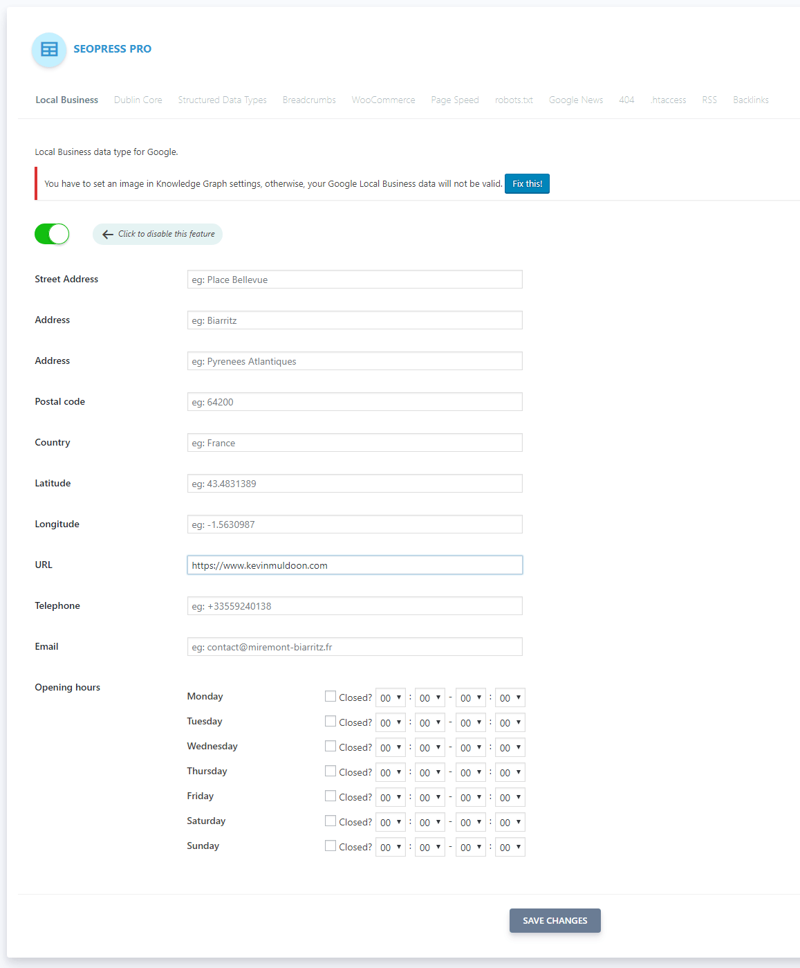 Local Business Settings