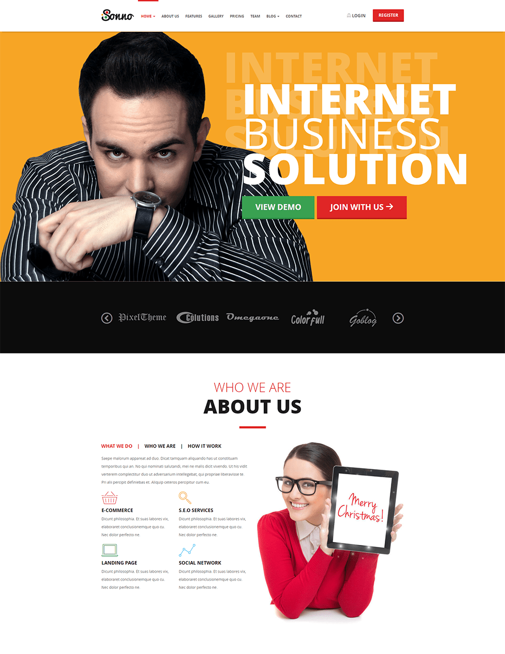 Sonno Landing Page WordPress Theme
