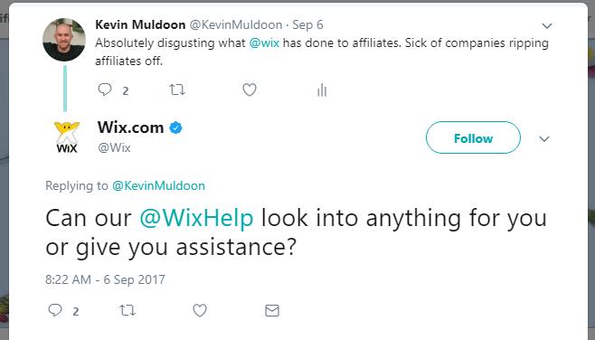 Wix Offer False Support