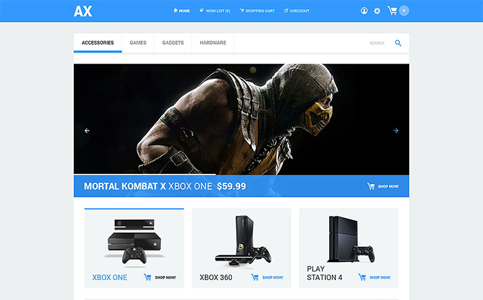 AX Games and Consoles Store OpenCart Template