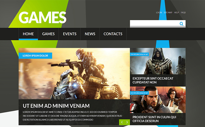 Flashy Game Portal Joomla Template