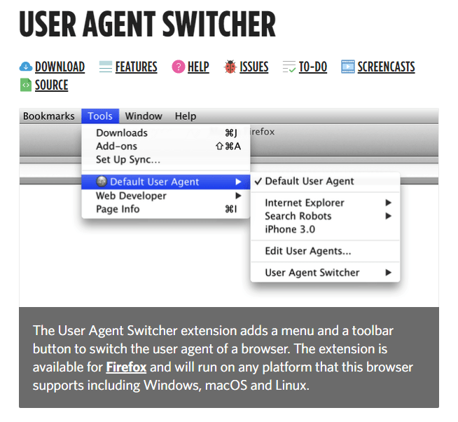 User Agent Switcher