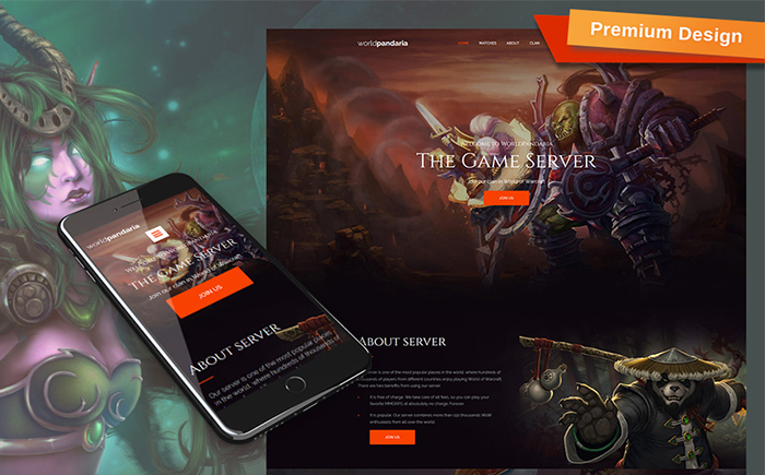 WorldPandaria - Game Portal Moto CMS 3 Template