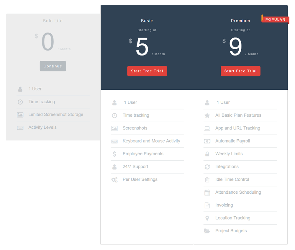 Hubstaff Pricing for One User