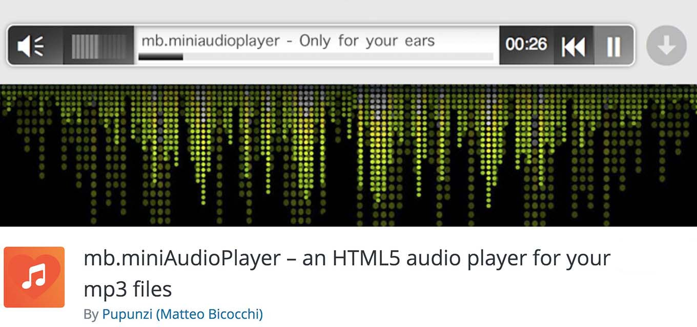 Screenshot of the mb.miniAudioPlayer WordPress plugin