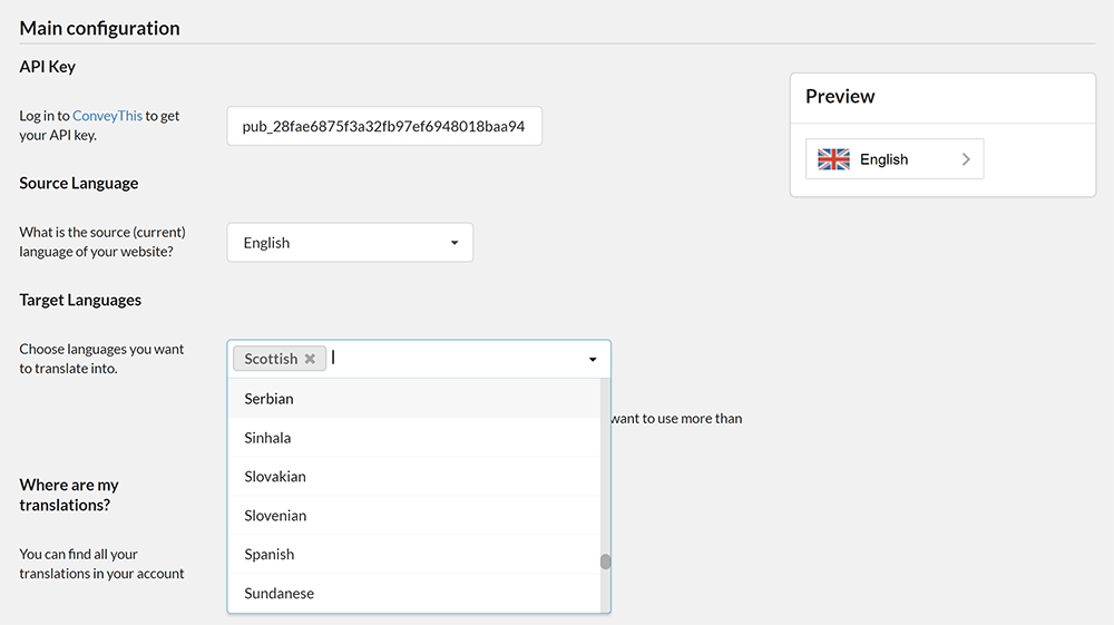 ConveyThis Translate Settings
