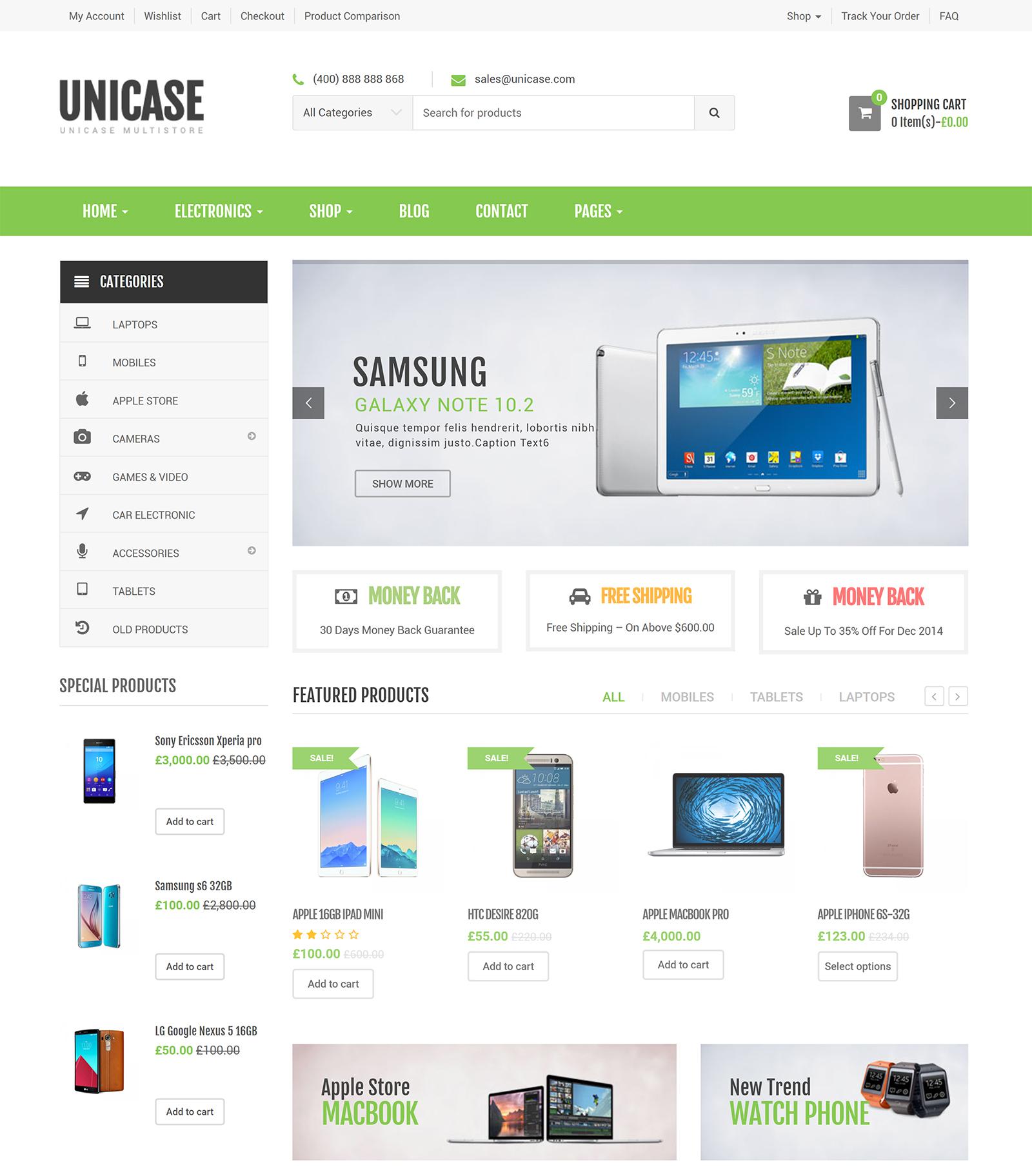 Unicase WordPress Theme