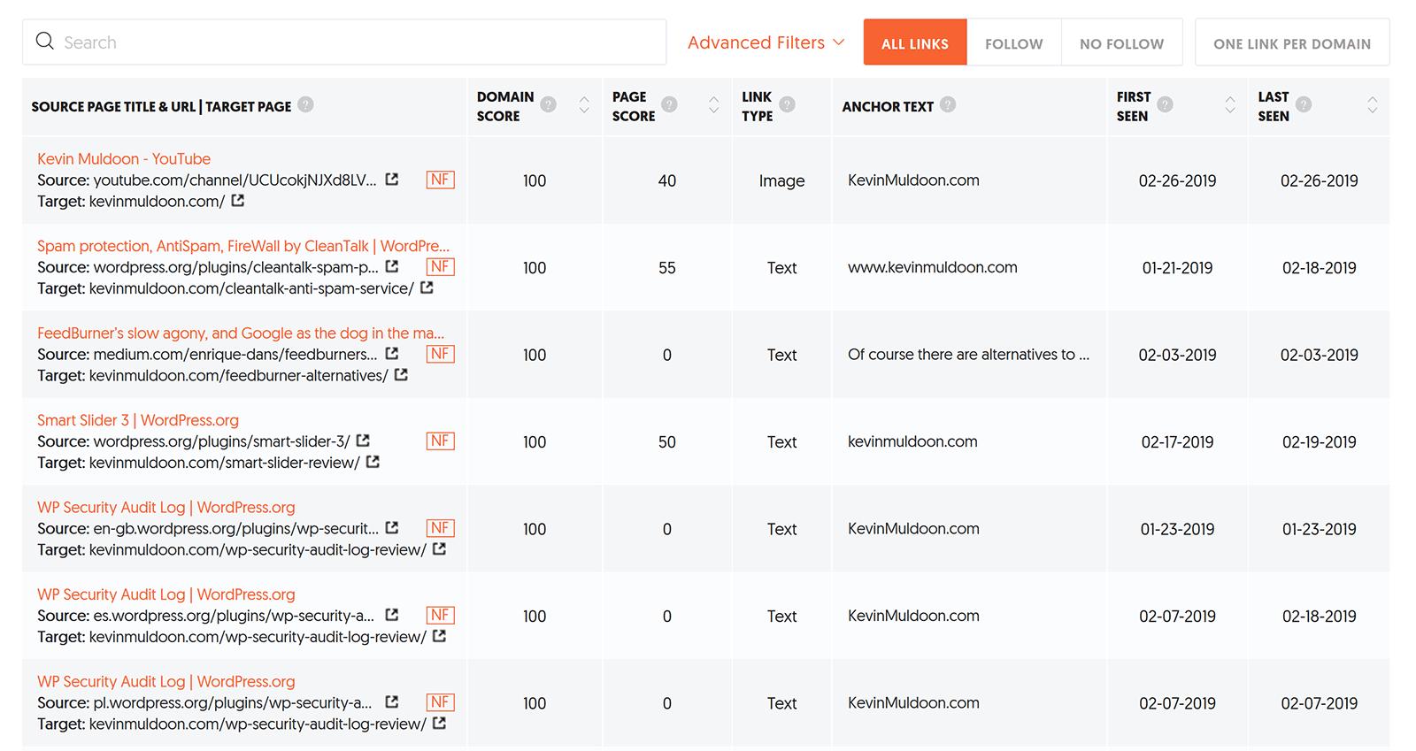 Backlink Results