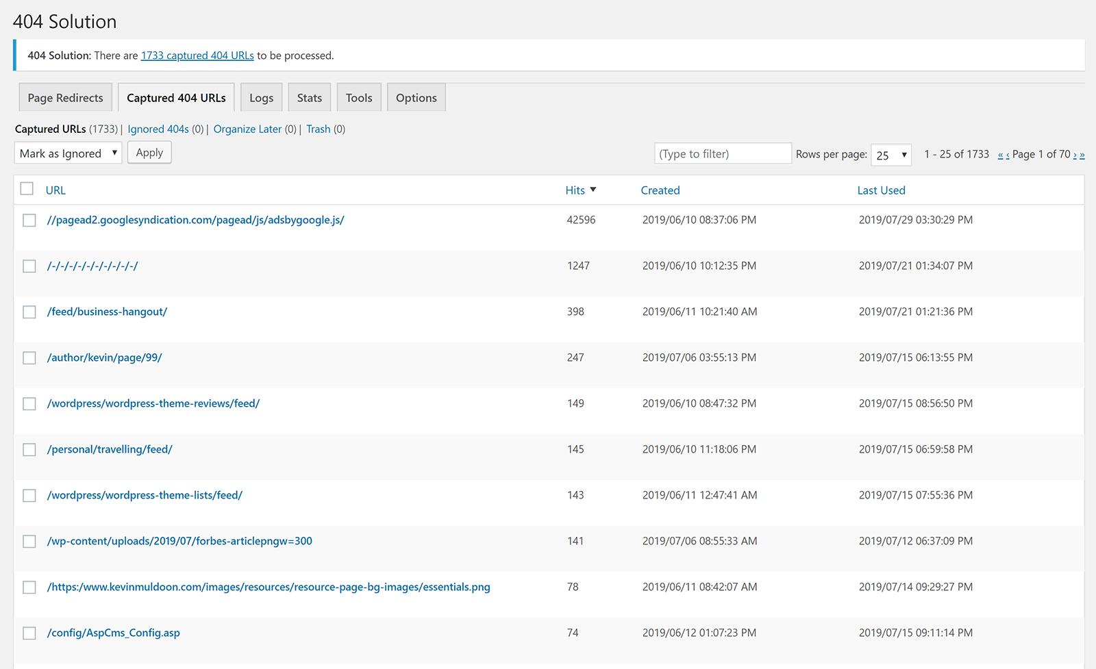 Captured 404 URLs