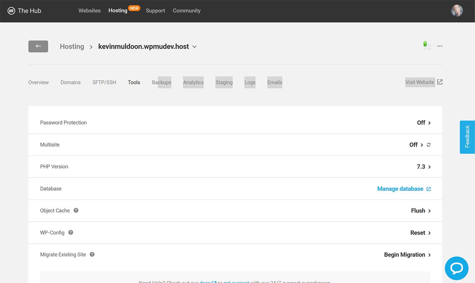 WPMU Dev Hosting Tools