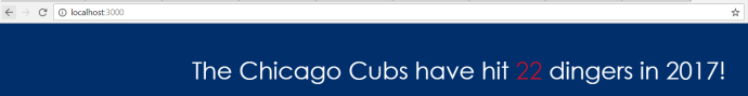 localhost:3000 - The Chicago Cubs have hit 22 dingers in 2017!