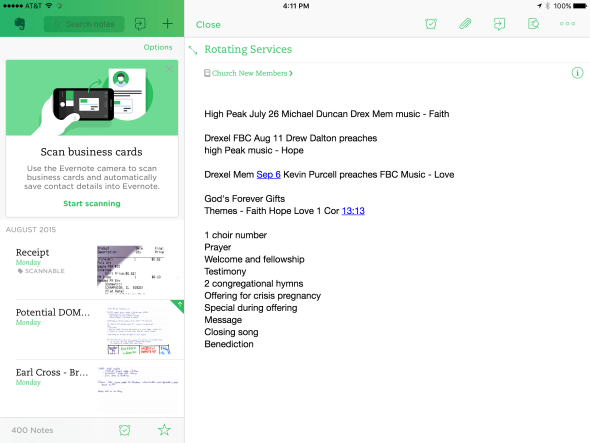 Evernote makes note taking and syncing cross platform easy.