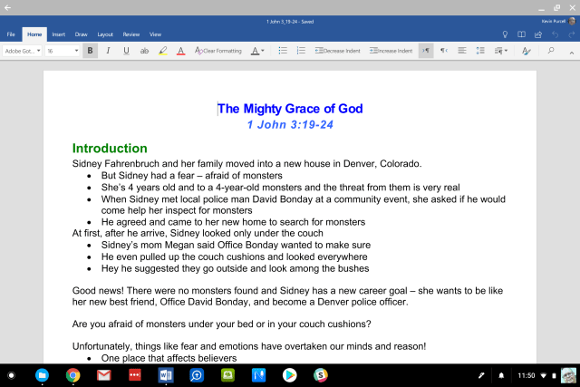 microsoft word on pixelbook for sermon writing