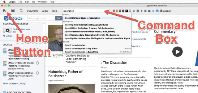 Logos Bible Software Home and Command Box