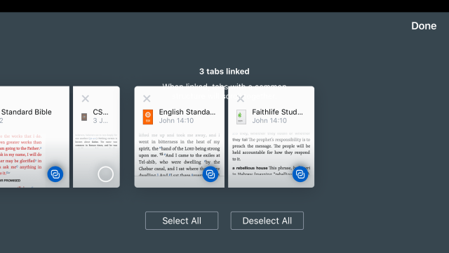 linking panes and books in logos bible app