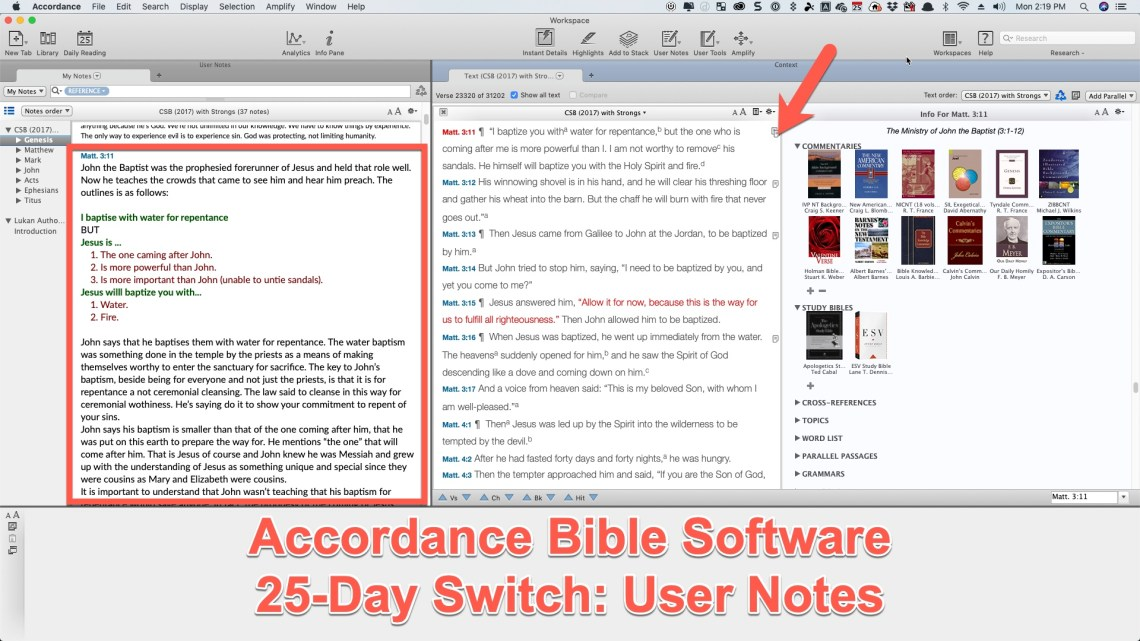Accordance Bible Software 25-Day Switch Part Two – Notes
