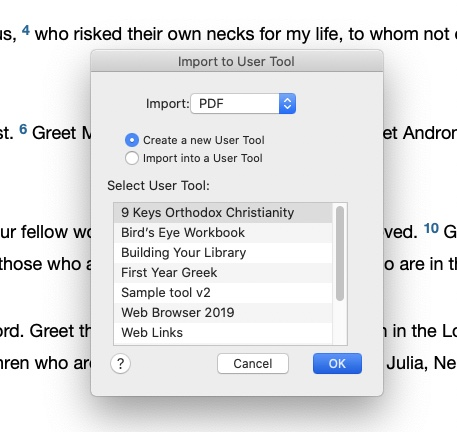 accordance 13 pdf import user tool dialog box