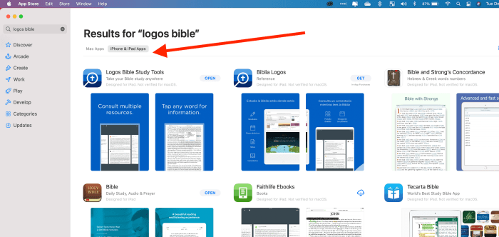 click iphone and ipad apps tab in mac app store