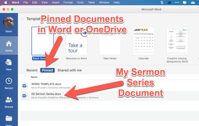 pinned documents in Microsoft word in sermon prep