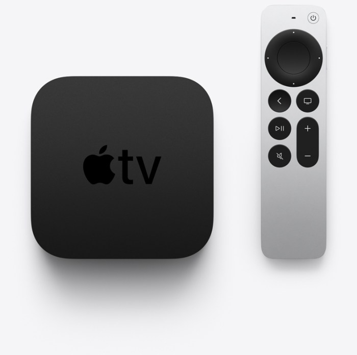 apple tv 4k with new remote side by side