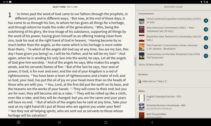 Olive Tree Bible app with resource guide making it one of the 5 best bible apps for android