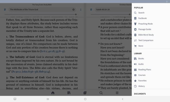 menu in Logos Bible app
