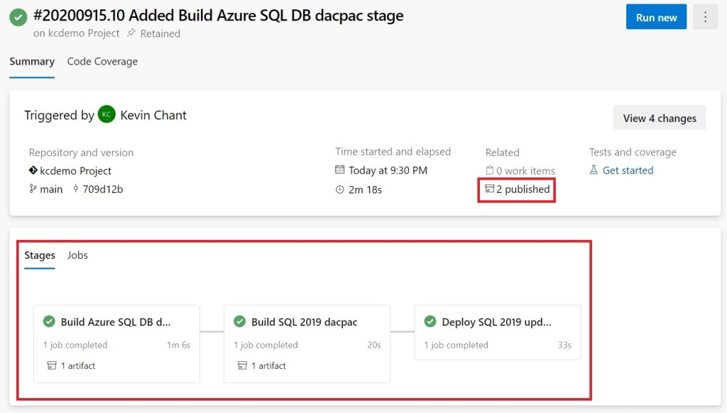 Added Build Azure SQL Database dacpac stage