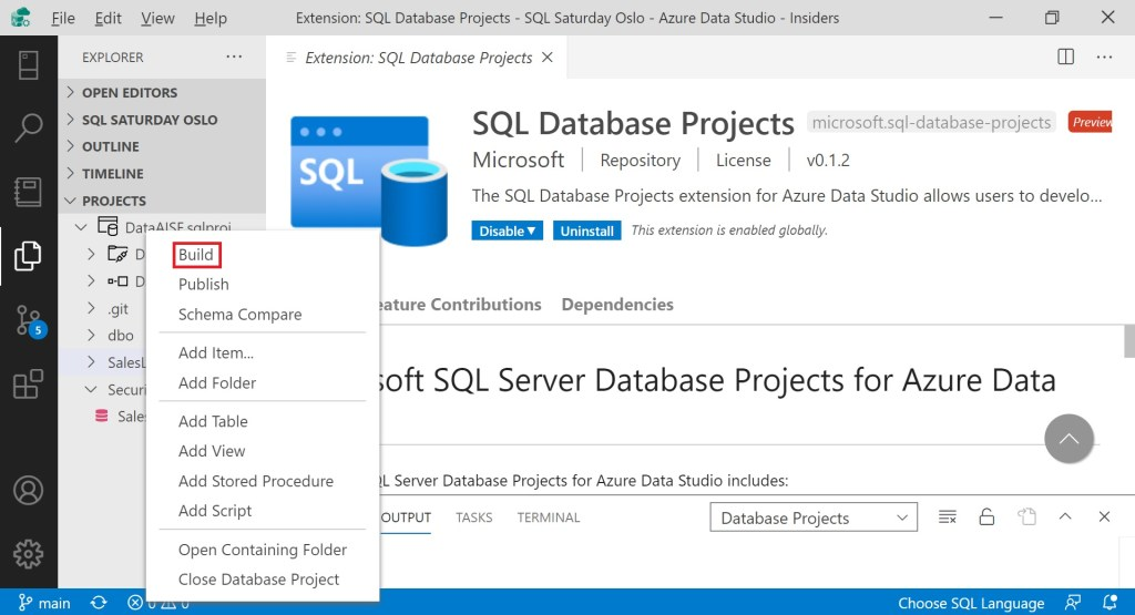 Tips about creating Database Projects in Azure Data Studio