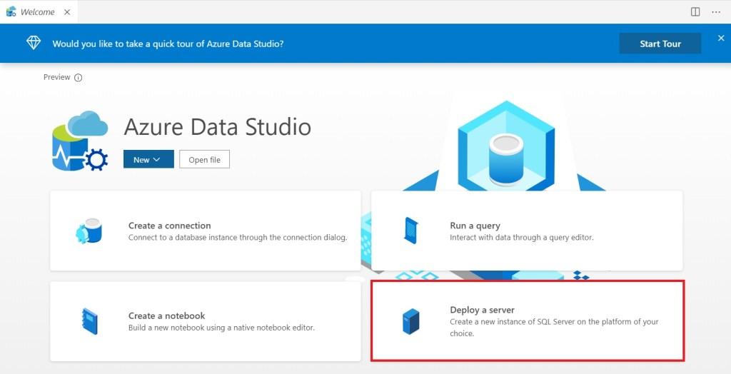 Choosing Deploy a server in Azure Data Studio to install SQL Server locally to test Azure DevOps deployments