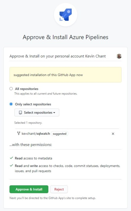 Authorizing Azure Pipelines to access my GitHub repository in order to deploy SQLWATCH to SQL Server using Azure DevOps