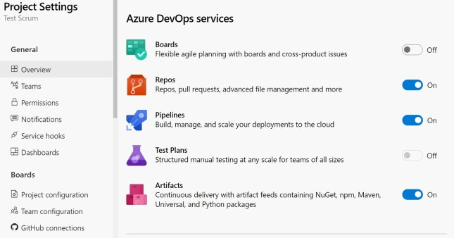 Azure Boards and Azure Test Plans turned off