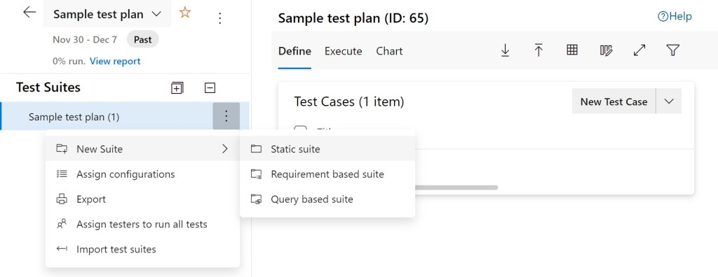 Types of Test suites you can create in Azure Test Plans