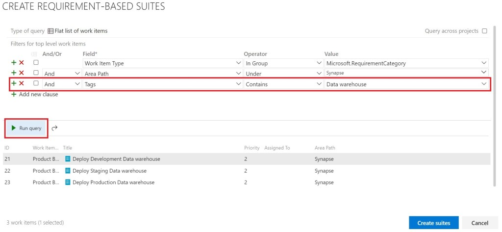 Create requirements-based suites designer after running query in Azure test Plans