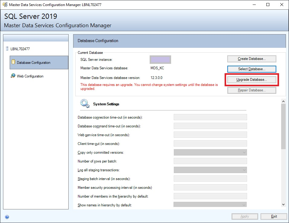 Upgrading a Master Data Services database as part of using Azure as a SQL Server time machine