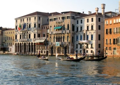 Gondolas on the Grand Canal in Venice Italy