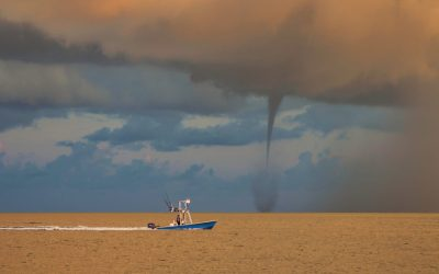 Waterspout Over the Gulf at Sunrise