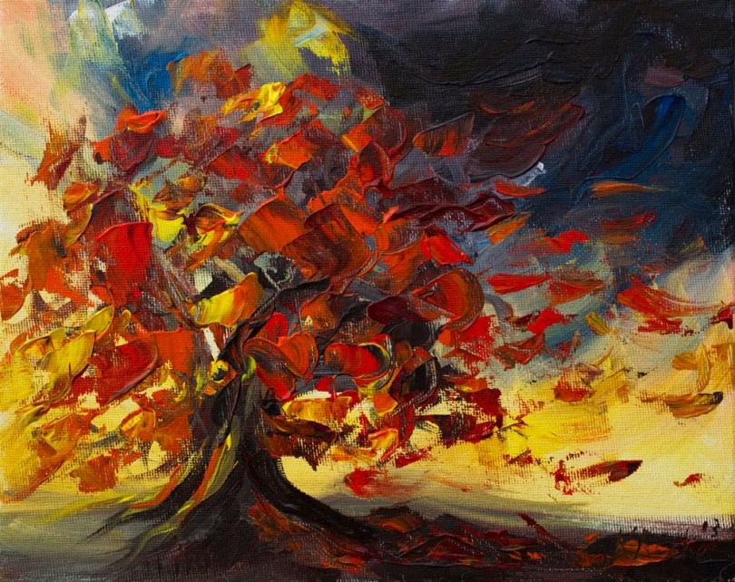 painting of tree in autumn wind