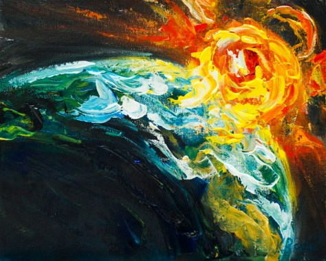 painting of sunrise from space