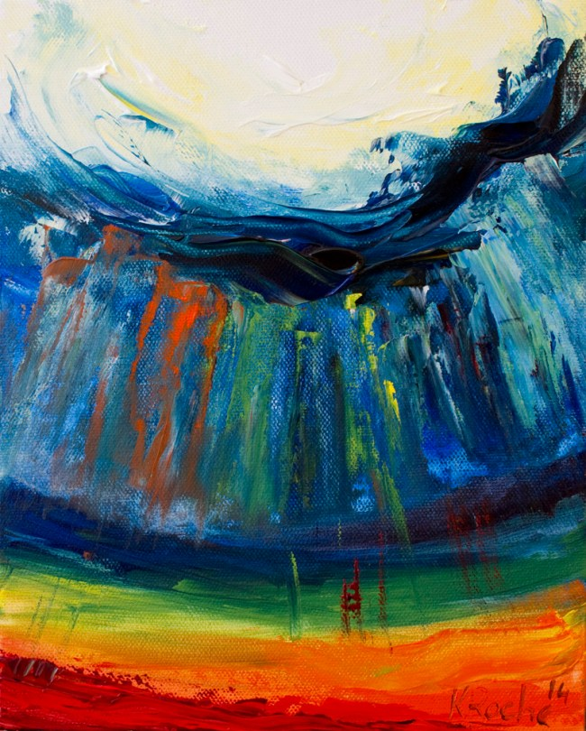 abstract landscape painting with rainbow