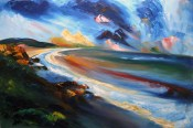 oil painting of Ballymoney beach in county Wexford