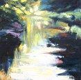 oil painting of brightly lit river with strong colours and textures