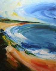 oil painting of Ballymoney beach on the south-east coast of Ireland