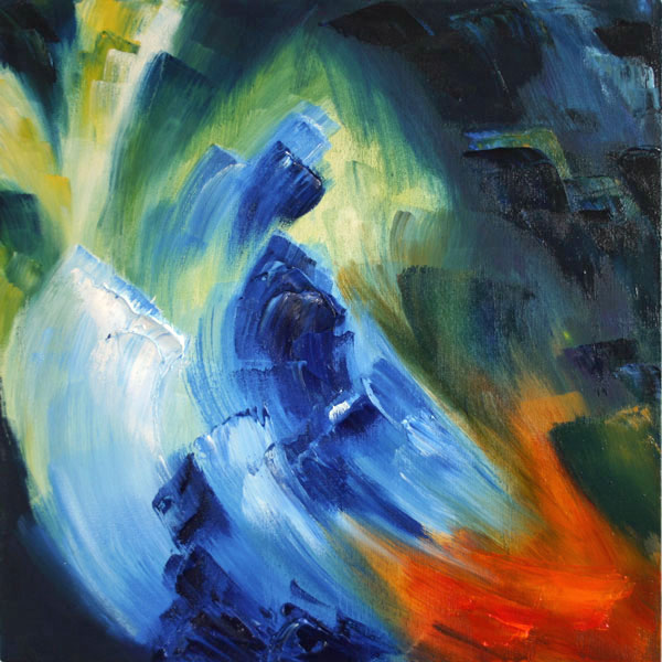 bright blue oil painting of reflections in water