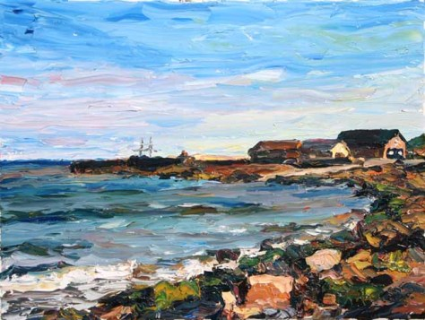 palette knife painting of Courtown pier on calm day