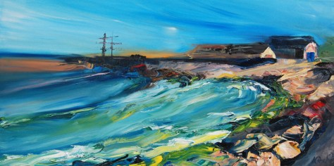 palette knife oil painting of Courtown pier