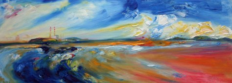 oil painting of panorama of Dublin Bay from Sandymount Strand with bold colour and texture